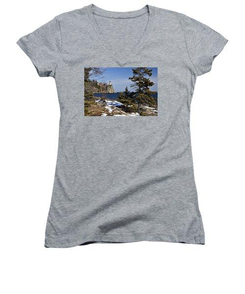 Women's V-Neck T-Shirt (Junior Cut) featuring the photograph Lighthouse Framed by Larry Ricker