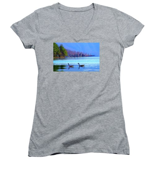 Lighthouse Geese, Smith Mountain Lake Women's V-Neck (Athletic Fit)