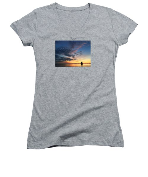 Lighthouse In Lorain Women's V-Neck (Athletic Fit)