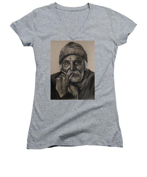 Lighthouse Keeper Women's V-Neck T-Shirt (Junior Cut) by Jean Cormier