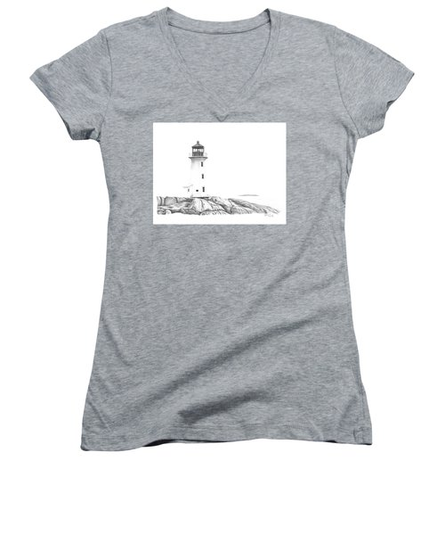 Lighthouse Of Peggy's Cove Women's V-Neck T-Shirt (Junior Cut) by Patricia Hiltz