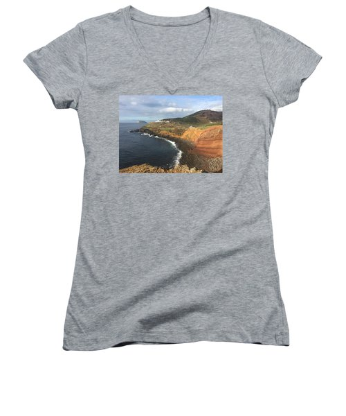 Lighthouse On The Coast Of Terceira Women's V-Neck T-Shirt (Junior Cut) by Kelly Hazel