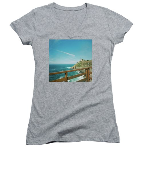 Lighthouse Over The Ocean Women's V-Neck (Athletic Fit)