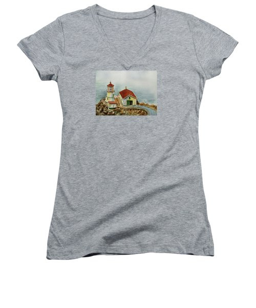 Lighthouse Point Reyes California Women's V-Neck