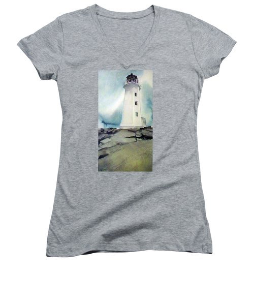 Women's V-Neck T-Shirt (Junior Cut) featuring the painting Lighthouse Rock by Ed Heaton