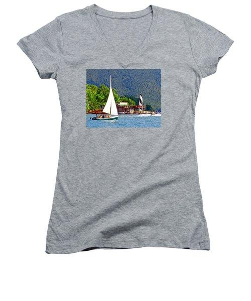 Lighthouse Sailors Smith Mountain Lake Women's V-Neck T-Shirt (Junior Cut) by The American Shutterbug Society