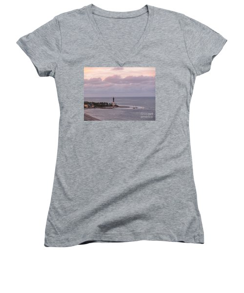 Lighthouse Sunset Peach And Lavender Women's V-Neck T-Shirt