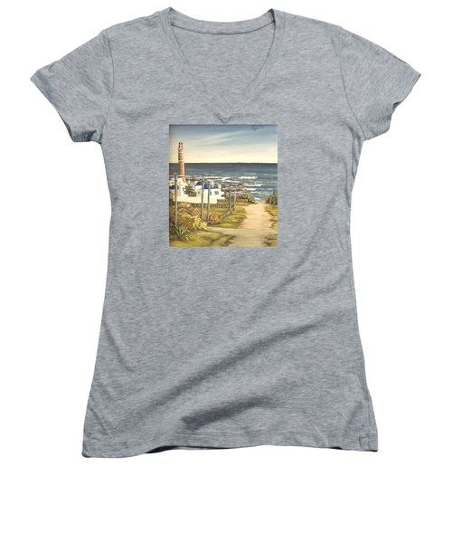 Women's V-Neck T-Shirt (Junior Cut) featuring the painting Lighthouse Uruguay  by Natalia Tejera