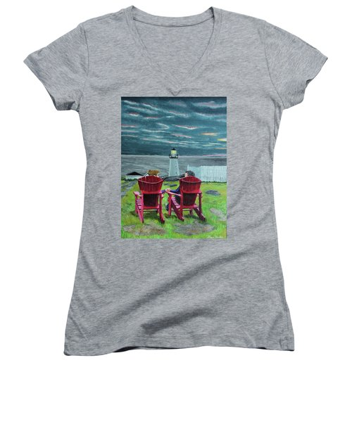 Lighthouse Lovers Women's V-Neck (Athletic Fit)