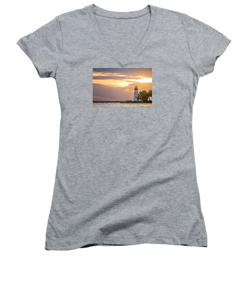 Women's V-Neck T-Shirt (Junior Cut) featuring the photograph Lighting The Way by Andy Crawford