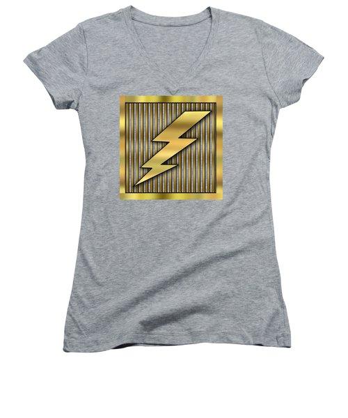 Lightning Bolt Women's V-Neck T-Shirt (Junior Cut) by Chuck Staley