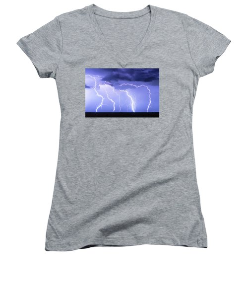 Lightning On The Plains Women's V-Neck (Athletic Fit)