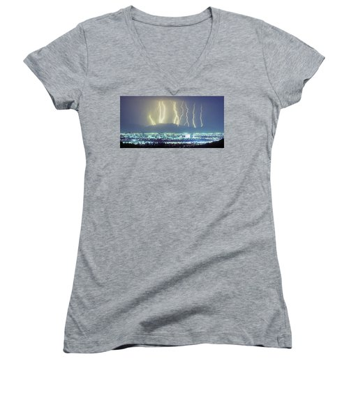 Women's V-Neck T-Shirt featuring the photograph Lightning Over Phoenix Arizona Panorama by James BO Insogna