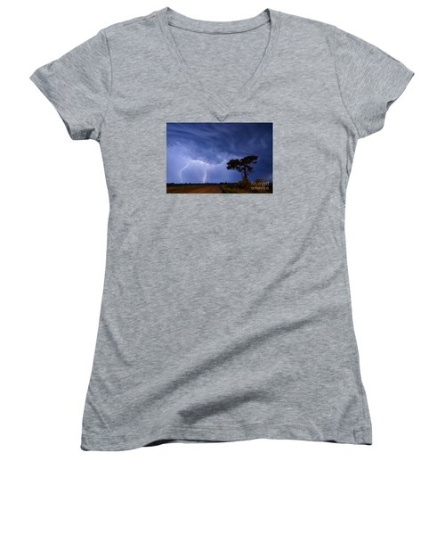 Lightning Storm On A Lonely Country Road Women's V-Neck T-Shirt (Junior Cut) by Art Whitton