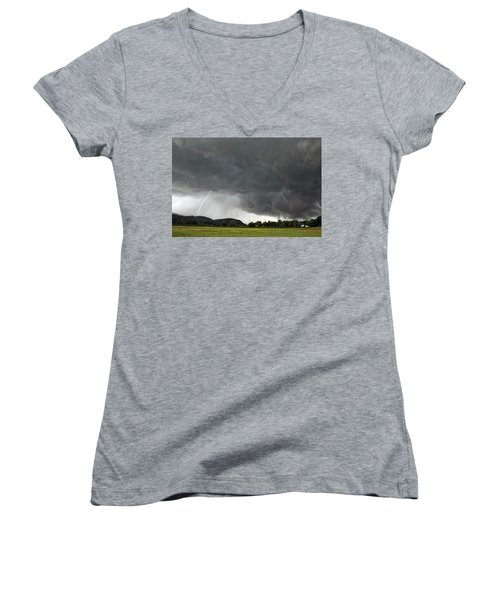Lightning Strike On Tyringham Plain Women's V-Neck (Athletic Fit)