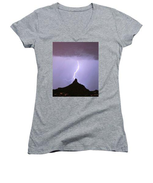 Lightning Striking Pinnacle Peak Scottsdale Az Women's V-Neck