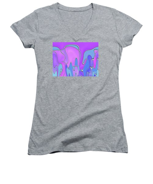 Women's V-Neck T-Shirt (Junior Cut) featuring the digital art Lignes En Folie - 03a by Variance Collections