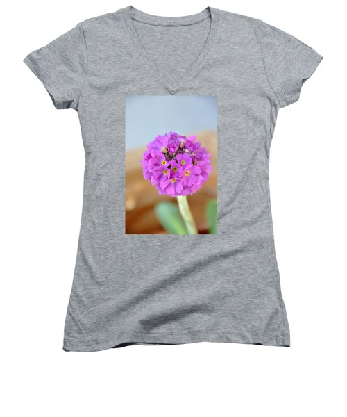 Single Pink Flower Women's V-Neck T-Shirt (Junior Cut) by Marion McCristall