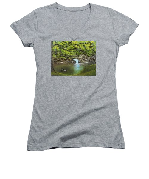 Women's V-Neck T-Shirt (Junior Cut) featuring the mixed media Like Ducks On Water by Angela Stout