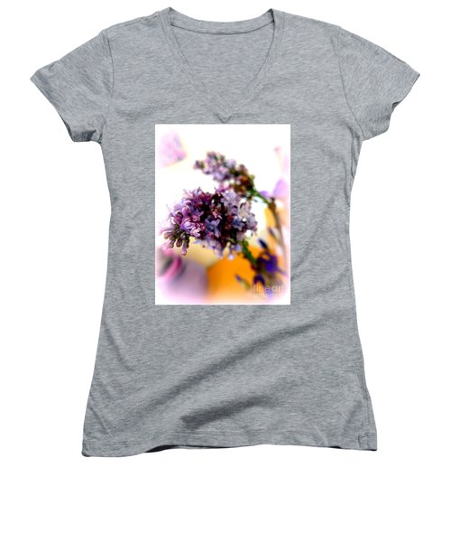 Lilac Beauty Women's V-Neck T-Shirt (Junior Cut) by Marlene Rose Besso