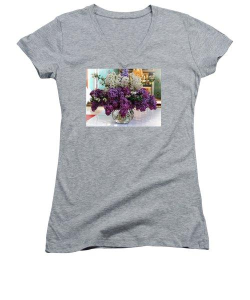 Lilac Bouquet Women's V-Neck (Athletic Fit)