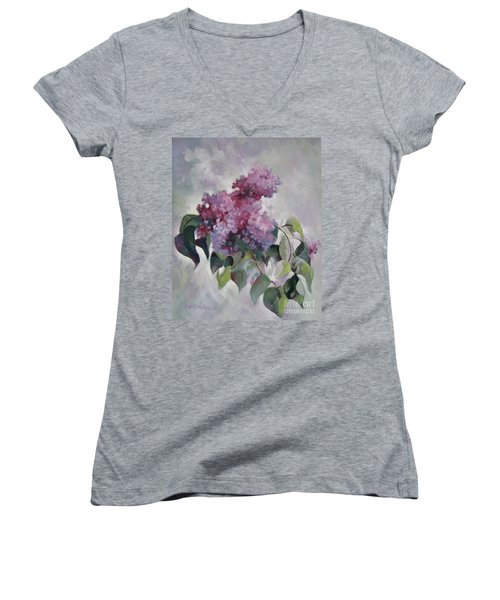 Lilac Women's V-Neck T-Shirt (Junior Cut) by Elena Oleniuc