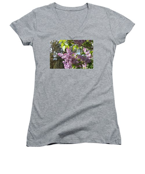 Women's V-Neck T-Shirt (Junior Cut) featuring the photograph Lilacs 5545 by Antonio Romero