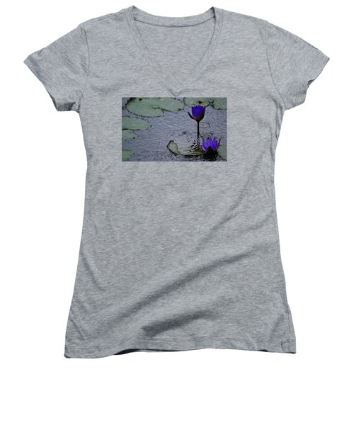 Lilies In The Rain Women's V-Neck (Athletic Fit)