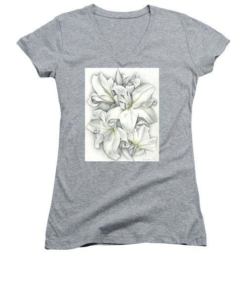 Lilies Pencil Women's V-Neck