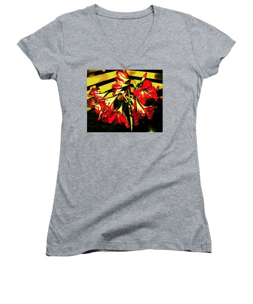 Women's V-Neck T-Shirt featuring the digital art Lily Gem by Winsome Gunning