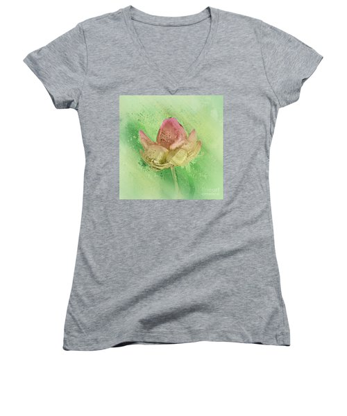 Women's V-Neck T-Shirt (Junior Cut) featuring the mixed media Lily My Lovely - S112sqc88 by Variance Collections