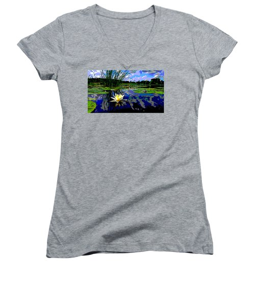 Lily Pond Women's V-Neck T-Shirt (Junior Cut) by Charles Shoup