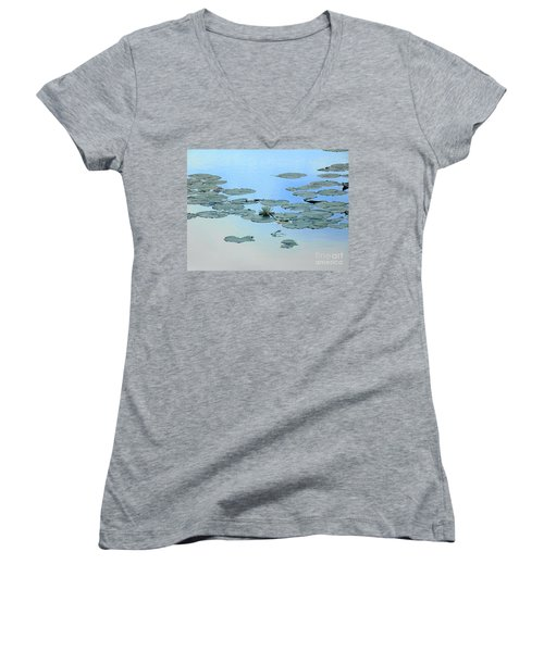 Women's V-Neck T-Shirt (Junior Cut) featuring the photograph Lily Pond by Daun Soden-Greene