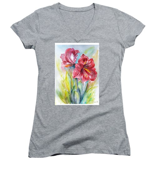 Women's V-Neck T-Shirt (Junior Cut) featuring the painting Lily Red by Jasna Dragun