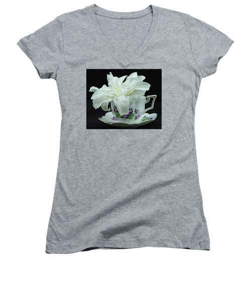 Lily With Teacup Women's V-Neck (Athletic Fit)