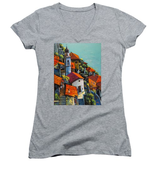 Women's V-Neck T-Shirt (Junior Cut) featuring the painting Limone Del Garda by Mikhail Zarovny