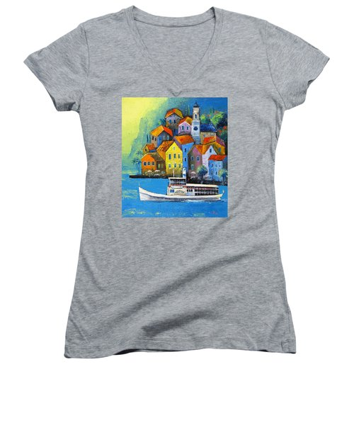 Women's V-Neck T-Shirt (Junior Cut) featuring the painting Limone by Mikhail Zarovny