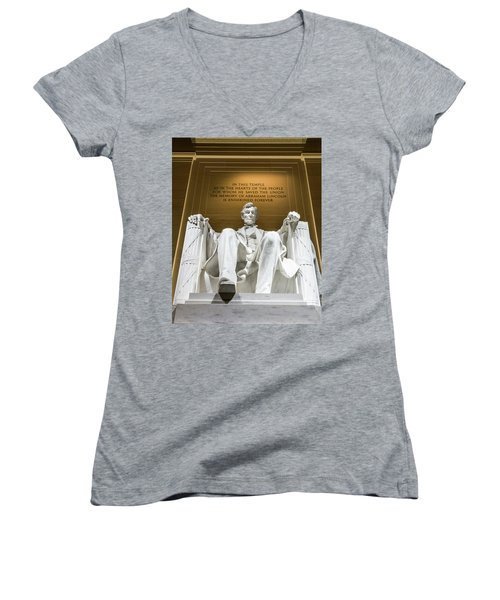 Lincoln Memorial 2 Women's V-Neck (Athletic Fit)