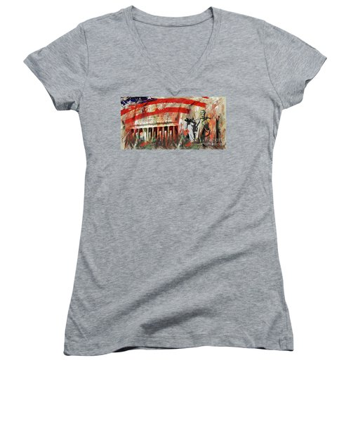 Women's V-Neck T-Shirt (Junior Cut) featuring the painting Lincoln Memorial And Lincoln Statue by Gull G