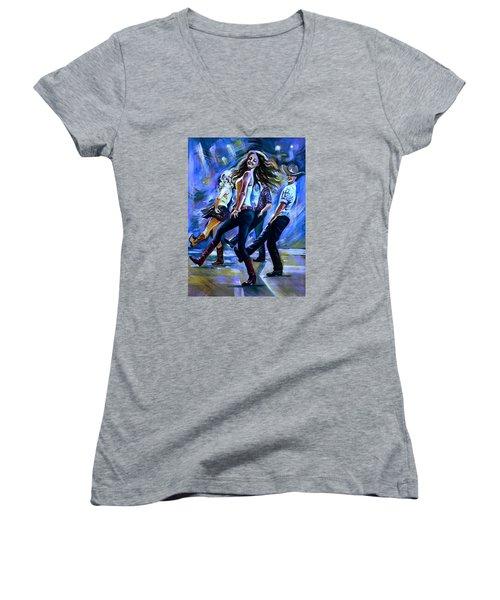 Line Dancing Fun Women's V-Neck T-Shirt (Junior Cut)