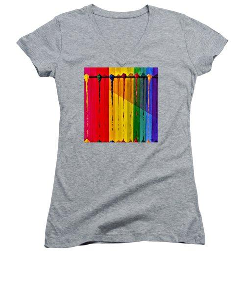 Line Of Fall Colors Women's V-Neck T-Shirt