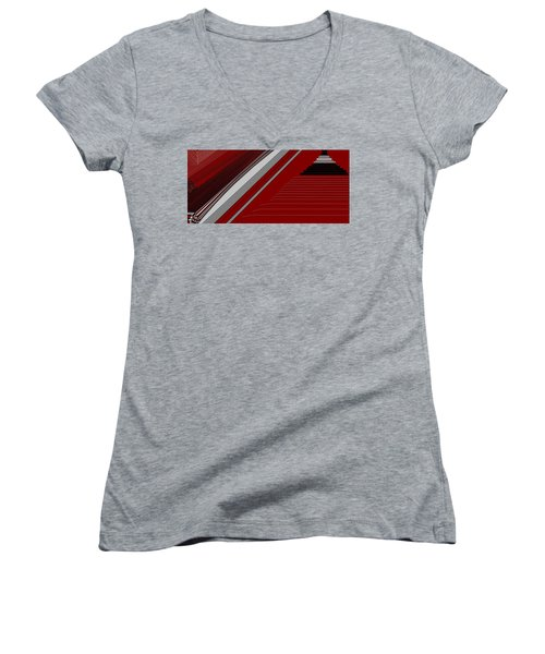 Lines 50 Women's V-Neck T-Shirt (Junior Cut) by Linda Velasquez