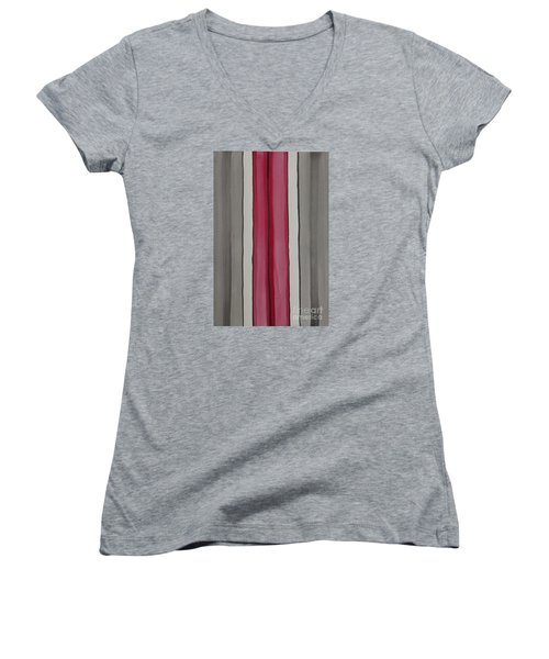 Women's V-Neck T-Shirt (Junior Cut) featuring the painting Lines by Jacqueline Athmann
