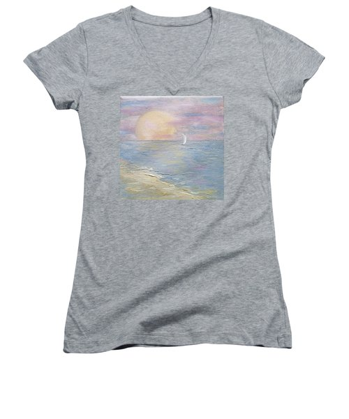 Women's V-Neck T-Shirt featuring the painting Lingering Freedom by Judith Rhue