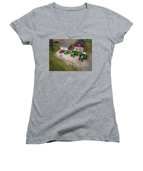Lining Up The Tractors Women's V-Neck (Athletic Fit)
