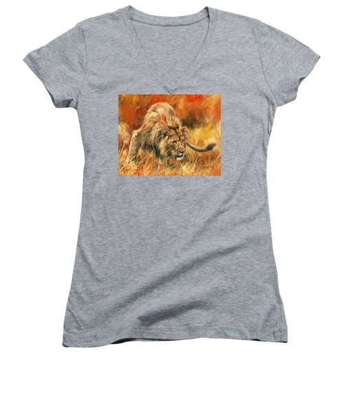 Women's V-Neck T-Shirt (Junior Cut) featuring the painting Lion Alert by David Stribbling