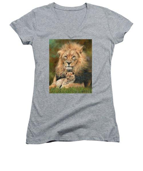 Lion And Cub Women's V-Neck T-Shirt (Junior Cut) by David Stribbling