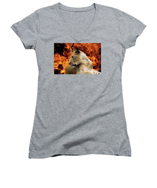 Lion And Fire Women's V-Neck T-Shirt (Junior Cut) by Inspirational Photo Creations Audrey Woods