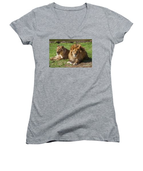 Lion And Lioness Women's V-Neck (Athletic Fit)