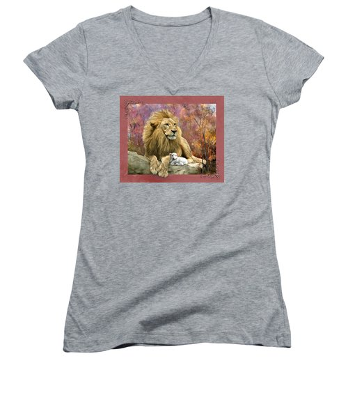 Lion And The Lamb Women's V-Neck (Athletic Fit)